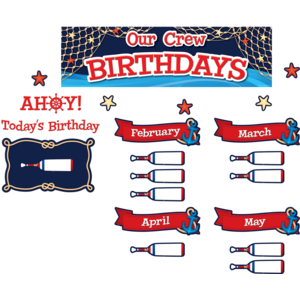 TCR8896 Nautical Our Crew Birthdays Mini Bulletin Board Image