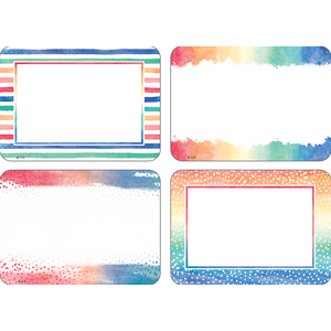 TCR8968 Watercolor Name Tags/Labels - Multi-Pack Image