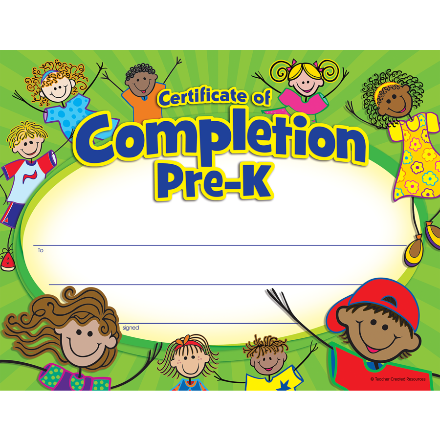 Pre K Certificate Of Completion Tcr4588 Teacher Created Resources