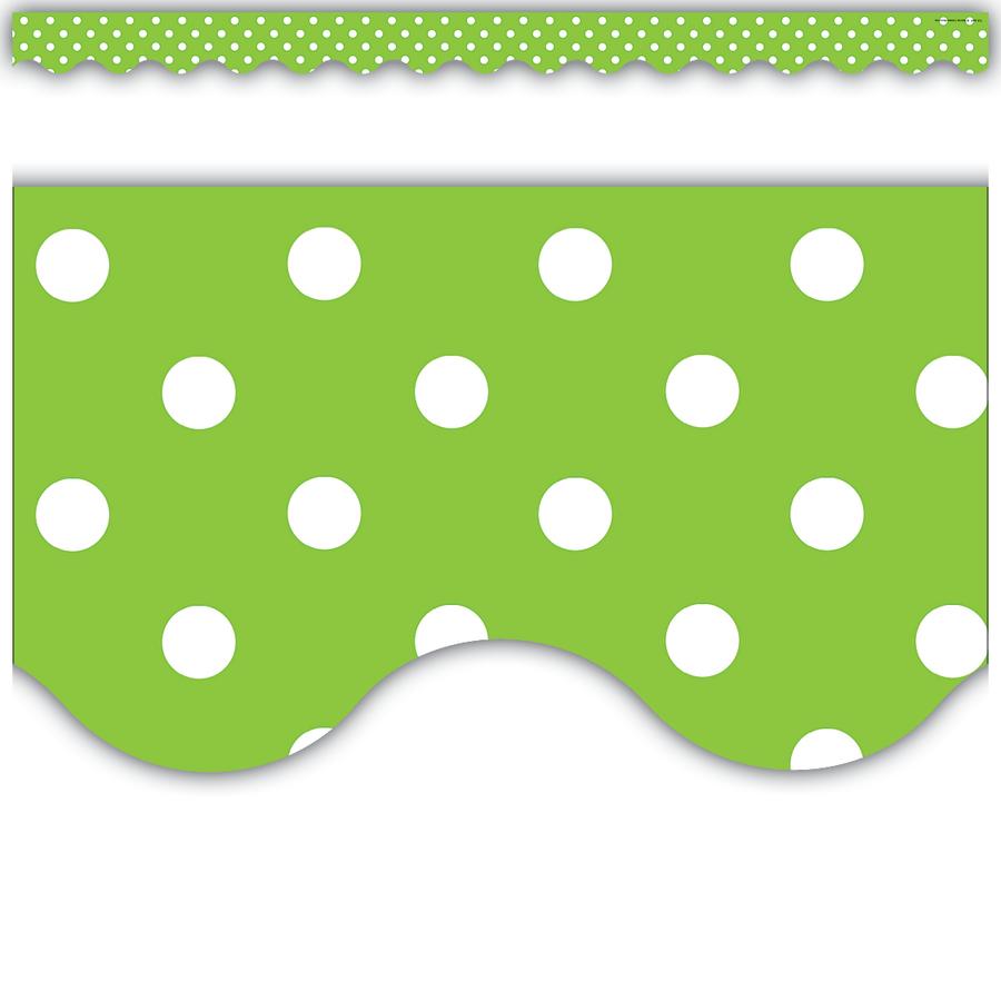 lime polka dots scalloped border trim tcr4669 teacher created