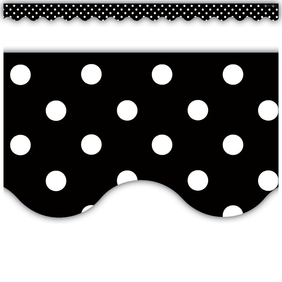 black polka dots scalloped border trim tcr4671 teacher created