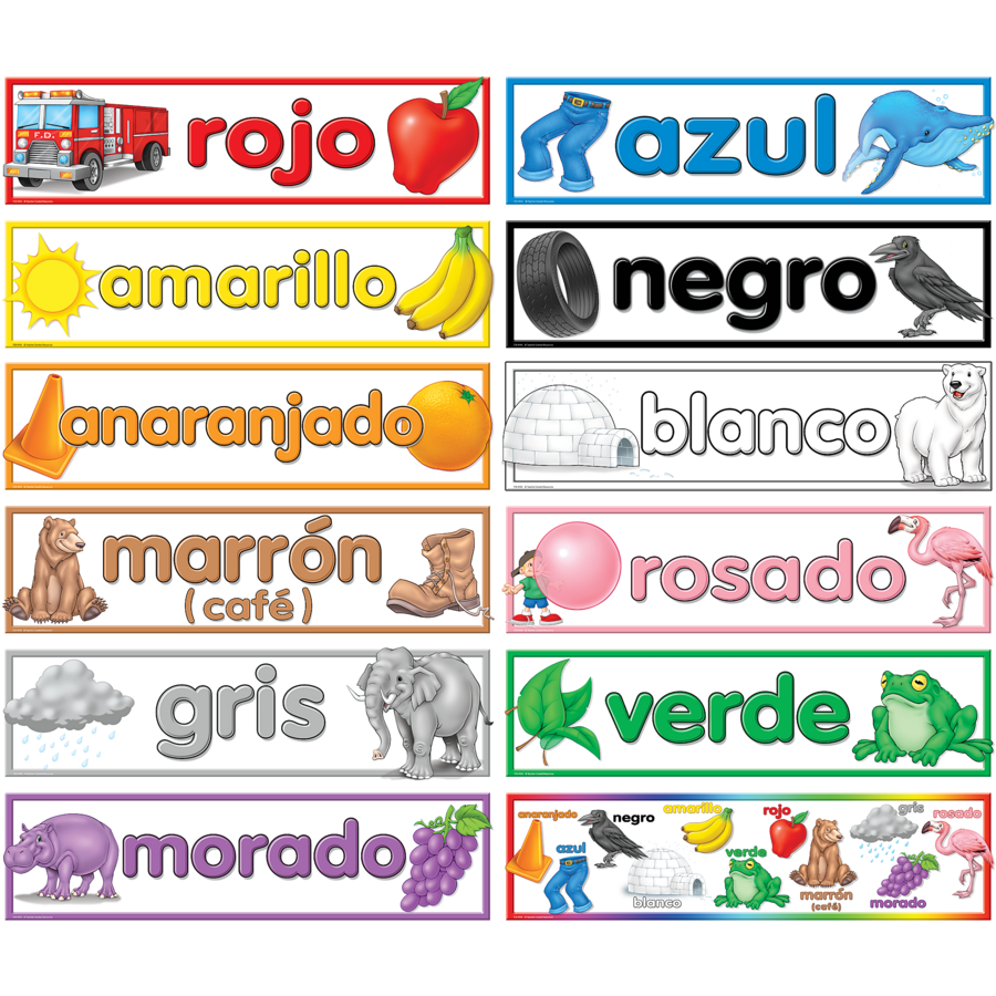 Colors spanish headliners tcr4945 teacher created for Colors in spanish