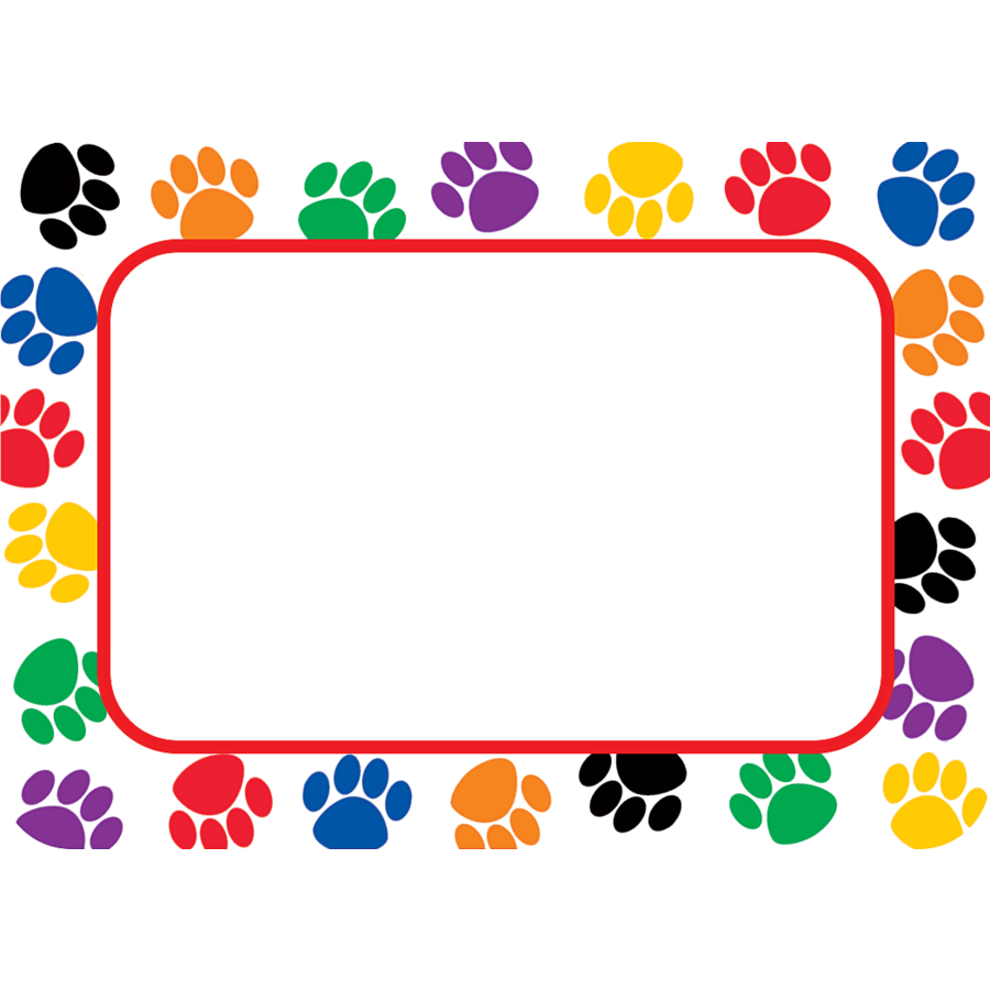 colorful paw prints name tags labels tcr5168 teacher created