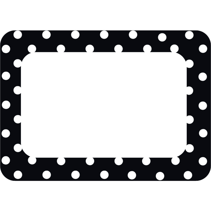 black polka dots 2 name tags labels tcr5538 teacher created
