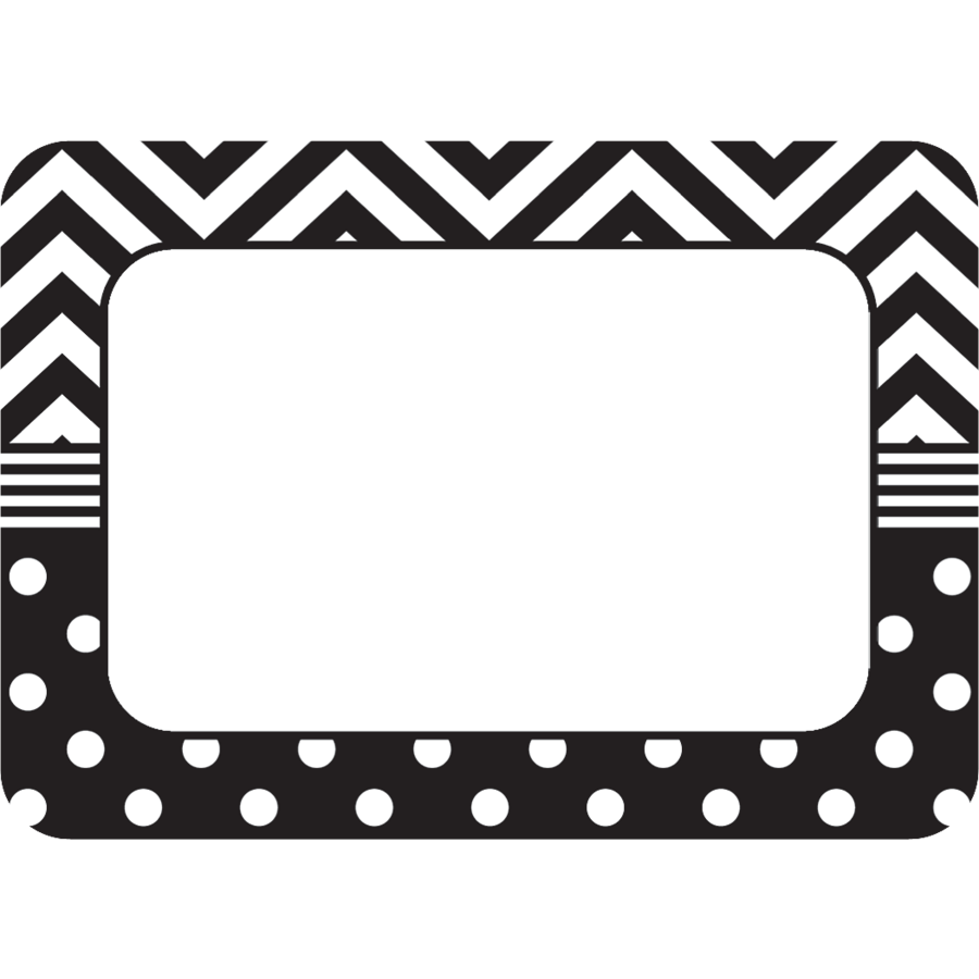 black white chevrons and dots name tags labels tcr5548 teacher