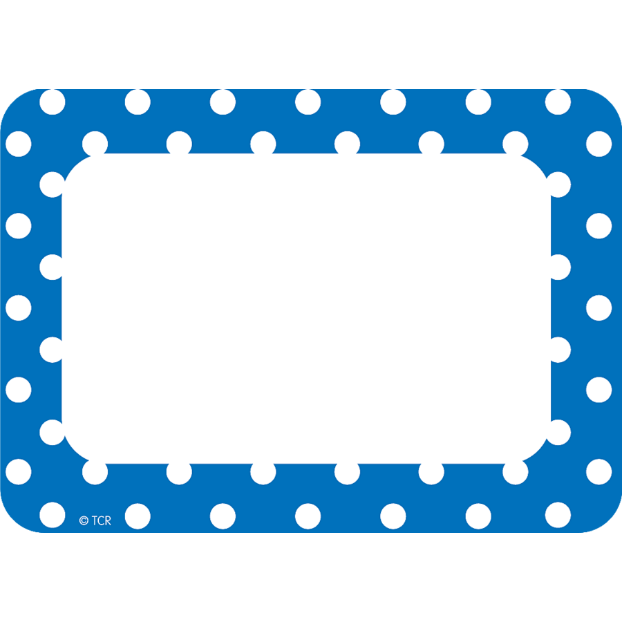 blue polka dots name tags labels tcr5585 teacher created resources