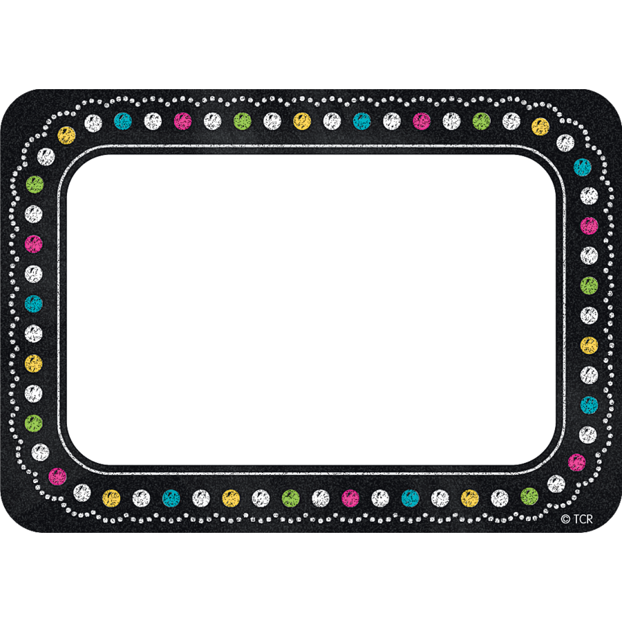 chalkboard brights name tags/labels - tcr5623 | teacher created