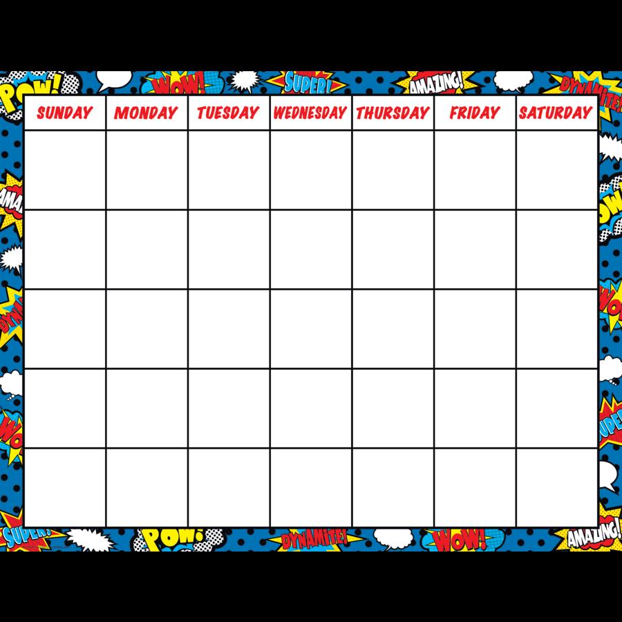 Monthly Calendar Chart : Superhero calendar chart tcr teacher created resources