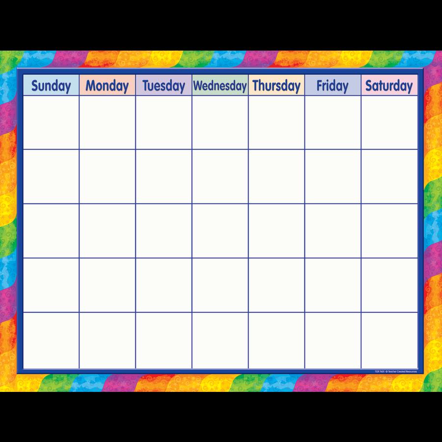 Calendar Design Png : Rainbow calendar chart tcr teacher created resources