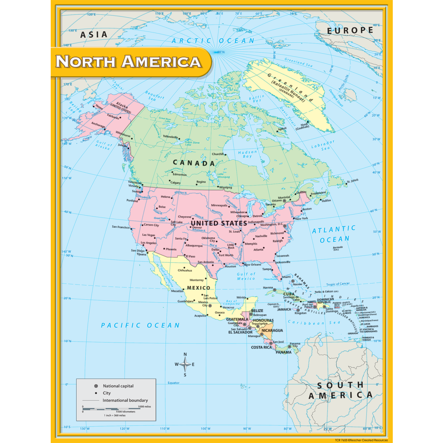 North America Map Chart Tcr7655 Teacher Created Resources