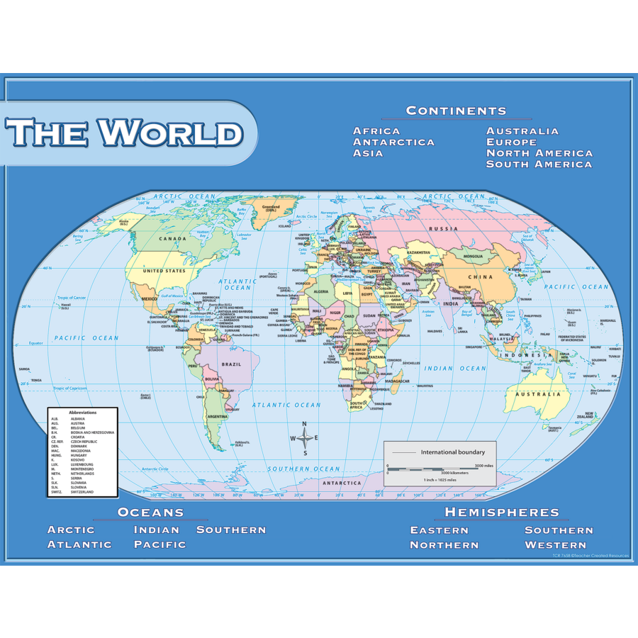World Map Chart Tcr7658 Teacher Created Resources