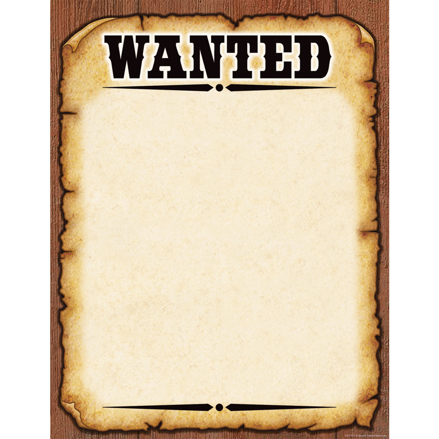 Western wanted poster chart tcr7725 teacher created for Wanted pirate poster template