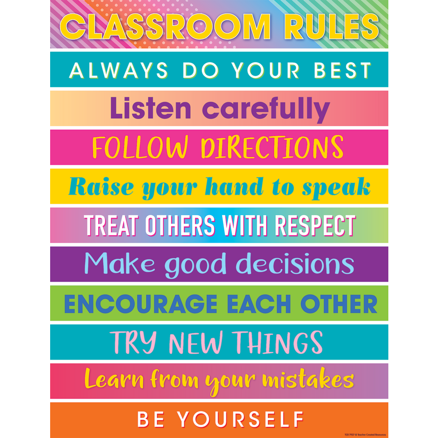 Rules Procedures: Colorful Vibes Classroom Rules Chart - TCR7937