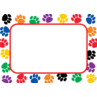 TCR5168 Colorful Paw Prints Name Tags/Labels