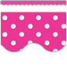 TCR5209 Hot Pink Polka Dots Scalloped Border Trim