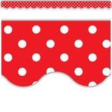 Red Polka Dots Scalloped Border Trim
