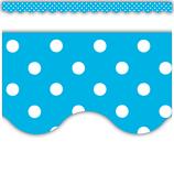 Aqua Polka Dots Scalloped Border Trim