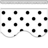 Black Polka Dots on White Scalloped Border Trim