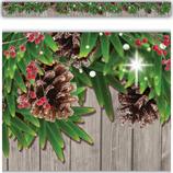 Winter Pine Cones Straight Border Trim