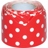 Red Polka Dots Scalloped Rolled Border Trim