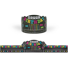 Chalkboard Brights Happy Birthday Crowns