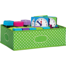 Lime Polka Dots Storage Bin