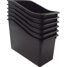 Black Plastic Book Bin 6 Pack