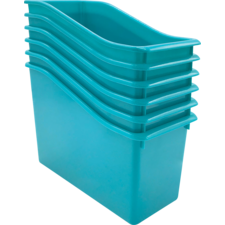 Teal Plastic Book Bin 6 Pack
