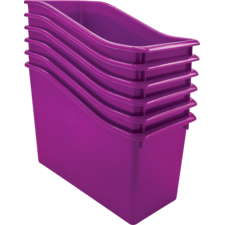 Purple Plastic Book Bin 6 Pack