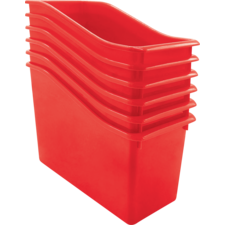 Red Plastic Book Bin 6 Pack