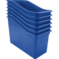 Blue Plastic Book Bin 6 Pack