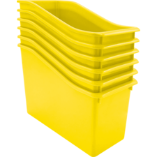 Yellow Plastic Book Bin 6 Pack