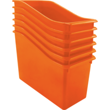 Orange Plastic Book Bin 6 Pack