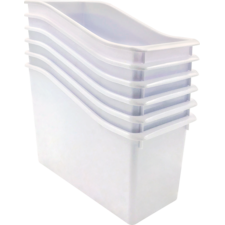 White Plastic Book Bin 6 Pack