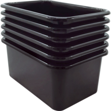 Black Small Plastic Storage Bin 6 Pack