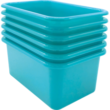 Teal Small Plastic Storage Bin 6 Pack