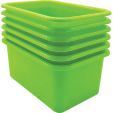 Lime Small Plastic Storage Bin 6 Pack