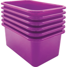 Purple Small Plastic Storage Bin 6 Pack