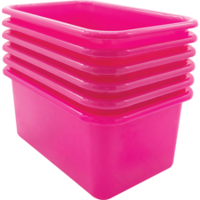 Pink Small Plastic Storage Bin 6 Pack