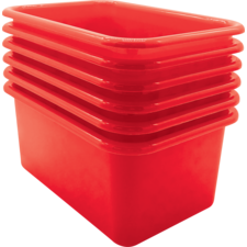 Red Small Plastic Storage Bin 6 Pack