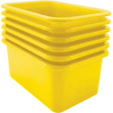 Yellow Small Plastic Storage Bin 6 Pack