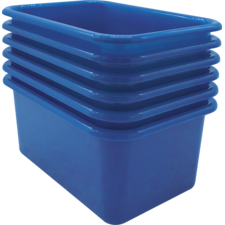 Blue Small Plastic Storage Bin 6 Pack