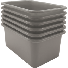 Gray Small Plastic Storage Bin 6 Pack