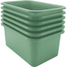 Eucalyptus Green Small Plastic Storage Bin 6 Pack