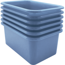 Slate Blue Small Plastic Storage Bin 6 Pack