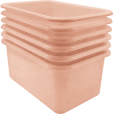 Blush Small Plastic Storage Bin 6 Pack