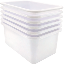 White Small Plastic Storage Bin 6 Pack