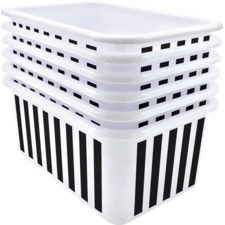Black and White Stripes Small Plastic Storage Bin 6 Pack