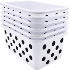 Black Polka dots on White Small Plastic Storage Bin 6 Pack
