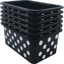 White Polka Dots on Black Small Plastic Storage Bin 6 pack
